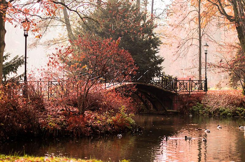 Latarnia przy moście nad wodą - jesień